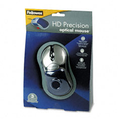 Fellowes - optical hd precision gel mouse, five-button/scroll, blue/silver, sold as 1 ea
