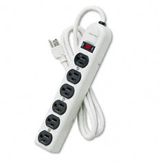 Fellowes - six-outlet power strip, 120v, 6ft cord, 12-1/4 x 2-1/2 x 1-3/8, platinum, sold as 1 ea