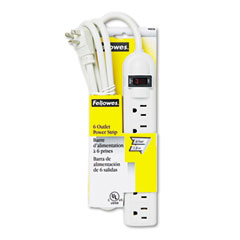 Fellowes - six-outlet plastic power strip, 120v, 6ft cord, 1 x 8 x 1-3/4, platinum, sold as 1 ea