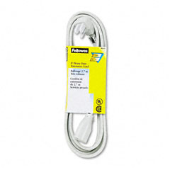 Fellowes - indoor heavy-duty extension cord, 3-prong plug, 1 outlet, 9-ft. length, gray, sold as 1 ea