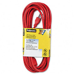 Fellowes - indoor/outdoor heavy-duty 3-prong plug extension cord, 1 outlet, 25-ft., orange, sold as 1 ea