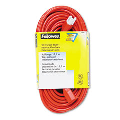 Fellowes - indoor/outdoor heavy-duty 3-prong plug extension cord, 1 outlet, 50-ft., orange, sold as 1 ea