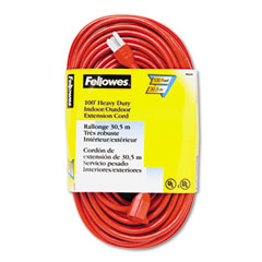 Fellowes - indoor/outdoor heavy-duty 3-prong plug extension cord, 1 outlet, 100-ft., orange, sold as 1 ea