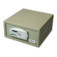 Gary - laptop safe, 1.2 capacity, 15-3/4w x 16-5/8d x 7-9/16h, light gray, sold as 1 ea