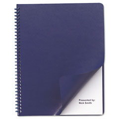 Gbc Quartet 2001711 Leather-Look Binding System Covers, 11-1/4 X 8-3/4, Navy, 50 Sets/Pack