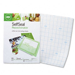 Gbc Quartet 3747410 Selfseal Repositionable Laminating Sheets, 3Mm., 9 X 12, 10/Pack
