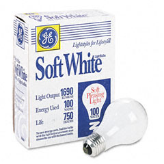 General Electric 41036 Incandescent Globe Bulbs, 100 Watts, 4/Pack