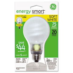 General Electric 74438 Compact Fluorescent Bulb, 20 Watt, A21 Globe, Soft White