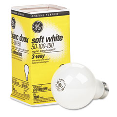 General Electric 97494 Three-Way Soft White Incandescent Globe Bulb, 50/100/150 Watts