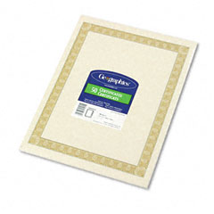 Geographics 21015 Parchment Paper Certificates, 8-1/2 X 11, Natural Diplomat Border, 50/Pack