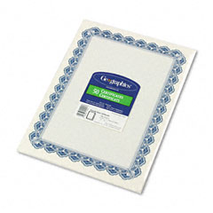 Geographics 22901 Parchment Paper Certificates, 8-1/2 X 11, Blue Royalty Border, 50/Pack