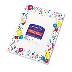 Geographics 39219 Design Paper, 24 Lbs., Party, 8-1/2 X 11, White, 100/Pack