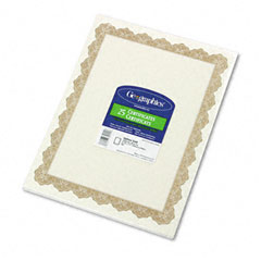 Geographics 39451 Parchment Paper Certificates, 8-1/2 X 11, Optima Gold Border, 25/Pack