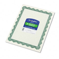 Geographics 39452 Parchment Paper Certificates, 8-1/2 X 11, Optima Green Border, 25/Pack