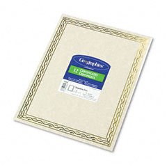Geographics 44407 Foil Stamped Award Certificates, 8-1/2 X 11, Gold Serpentine Border, 12/Pack