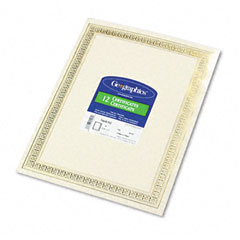 Geographics 45492 Foil Enhanced Certificates, 8-1/2 X 11, Gold Flourish Border, 12/Pack