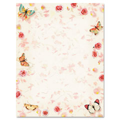 Geographics 46883 Design Paper, 24 Lbs., Butterflies, 8-1/2 X 11, White, 100/Pack