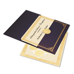 Geographics 47481 Ivory/Gold Foil Embossed Award Cert. Kit, Blue Metallic Cover, 8-1/2 X 11, 6/Pk.