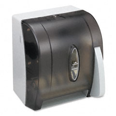 Georgia pacific - hygienic push-paddle roll towel dispenser, translucent smoke, sold as 1 ea