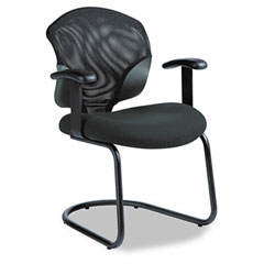 Global 1953 Tye Mesh Management Series Arm Chair W/Cantilever Base, Black