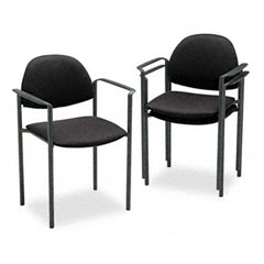 Global 2171BKIM06 Comet Series Stacking Arm Chair, Black Olefin Fabric, 3/Carton