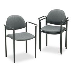 Global 2171BKIM11 Comet Series Stacking Arm Chair, Gray Olefin Fabric, 3/Carton