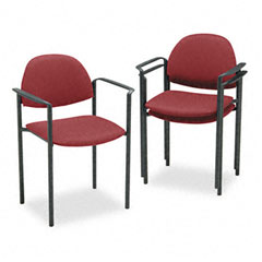 Global 2171BKIM52 Comet Series Stacking Arm Chair, Burgundy Olefin Fabric, 3/Carton