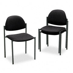 Global 2172BKIM06 Comet Series Armless Stacking Chair, Black Olefin Fabric, 3/Carton