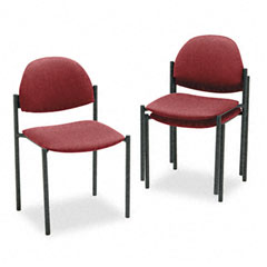 Global 2172BKIM52 Comet Series Armless Stacking Chair, Burgundy Olefin Fabric, 3/Carton