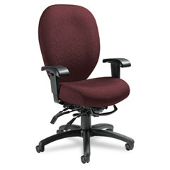 Global 27803T608 Mallorca Series High-Back Multi-Tilt Chair, 20-1/2 X 20-1/2 X 41-1/2, Bordeaux