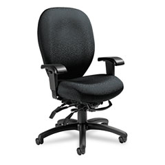 Global 27803T610 Mallorca High-Back Multi-Tilt Chair, 20-1/2 X 20-1/2 X 41-1/2, Midnight Black