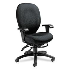 Global 27803T610 Mallorca High-Back Multi-Tilt Chair, 20-1/2 X 20-1/2 X 41-1/2, Midnight Black
