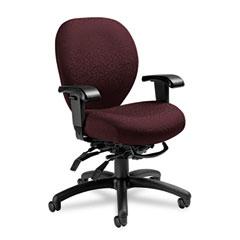 Global 27813T608 Mallorca Mid-Back Multi-Tilt Chair, 20-1/2 X 20-1/2 X 39-1/2, Bordeaux