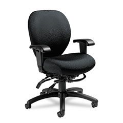 Global 27813T610 Mallorca Mid-Back Multi-Tilt Chair, 20-1/2 X 20-1/2 X 39-1/2, Midnight Black