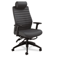 Global 28503SO47 Aspen Series Executive Back Multi-Tilt Chair W/Headrest, Onyx Vinyl