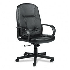 Global 4003BK450550 Arno Executive Leather High-Back Swivel/Tilt Chair, Black