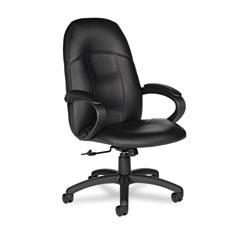 Global 4526450550 Tamiri Series High-Back Tilt Chair, 25 X 27 X 45, Black Leather, Black Frame