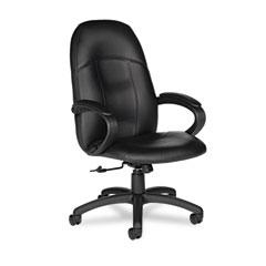 Global 4526450550 Tamiri Series High-Back Tilt Chair, 25 X 27 X 45, Black Leather, Black Frame