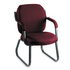 Global 4735BKPB07 Commerce Series Guest Arm Chair, Sled Base, Rhapsody Burgundy Fabric