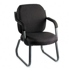 Global 4735BKPB09 Commerce Series Guest Arm Chair, Sled Base, Asphalt Black Fabric