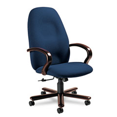 Global 49464TMMIM14 Enterprise High-Back Tilt Chair, 26-1/2 X 27 X 47-1/2, Navy/Tiger Mahogany