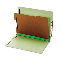 Globe-Weis 23214 Pressboard End Tab Classification Folders, Four Sections, Letter, Green, 10/Box