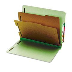 Globe-Weis 23224 Pressboard End Tab Classification Folders, Six Sections, Letter, Green, 10/Box