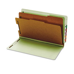Globe-Weis 23324 Pressboard End Tab Classification Folders, Six Sections, Legal, Green, 10/Box