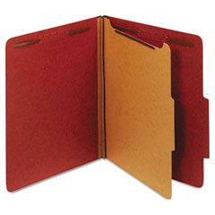 Globe-Weis 23775 Pressboard Classification Folders, Four Fasteners, 2/5 Cut, Letter, Red, 10/Box
