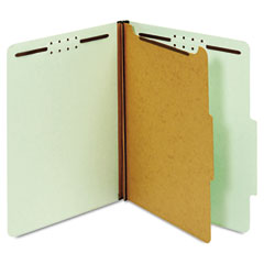 Globe-Weis 23776 Pressboard Classification Folders, 4 Fasteners, 2/5 Cut, Letter, Green, 10/Box