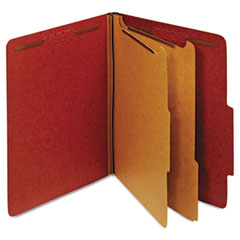 Globe-Weis 24075 Pressboard Classification Folders, Six Fasteners, 2/5 Cut, Letter, Red, 10/Box