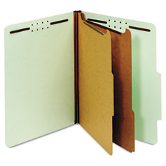 Globe-Weis 24076 Pressboard Classification Folders, Six Fasteners, 2/5 Cut, Letter, Green, 10/Box