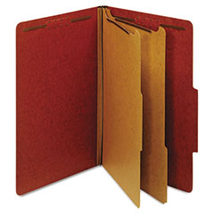 Globe-Weis 29075 Pressboard Classification Folders, Six Fasteners, 2/5 Cut, Legal, Red, 10/Box
