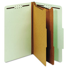 Globe-Weis 29076 Pressboard Classification Folders, Six Fasteners, 2/5 Cut, Legal, Green, 10/Box